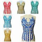 Rhinestone Evening Dress Show Costume Embroidery Dancing Party Lace Applique 1PC