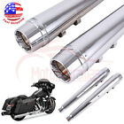 4 Chrome Megaphone Slip On Mufflers Exhaust Pipes For 1995 2016 Harley Touring