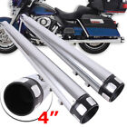 4 Mufflers Exhaust Pipes For Harley Road King Street Electra Glide Touring 95+