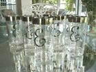 8 Vintage Dorothy Thorpe Highball Glasses Monogram Initial Letter E Silver Band