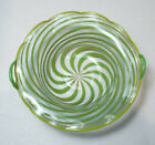 Bimini ART GLASS Pinwheel Trinket Miniature Bowl SWIRL Lime Green Handles Rimmed