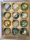 12 Vintage SHINY BRITE Glass GLITTER Christmas ORNAMENTS 225