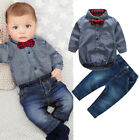 US Baby Boy FormalPartyWedding2pcs Bow Romper Long Pants Suit Outfit Clothes
