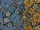2 AFRICAN FLOWER Bright Bold Leopard Animal Print Blue Gold CHOICE OOP BY 1 2 YD