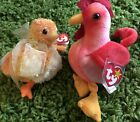 Lot Of 2 Vtg RETIRED Beanie Baby Birds Chickie & Rooster Strut Plush Animals Toy