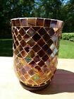 Twos Co Red Glass Irridescent Mosaic Tiled Vase