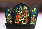 1930s GERMANY CHRISTMAS NATIVITY COLORED DIECUT STENCIL PRINTED BACKGROUND