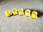 5 FIRE KING STACKABLE MUGS YELLOW BROWN FADE