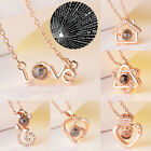 Women Jewelry Gift 100 Languages I Love You Necklace Heart Pendant Projection