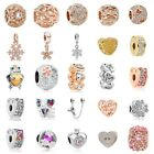 European Silver Charms Crystal Heart Beads Gifts CZ Pendant Fit 925 Bracelets
