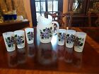7 Pc Vintage Satin Frosted Pitcher Set w/6 Glasses Purple Flowers Violets