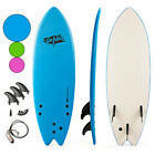 55 Surf Board Surfing Beach Ocean Foamie Board w Wrist Rope  3 Fins Blue