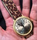 Easy To Read INFINITY Ladies Gold Tone Leather Brown Spotted Quartz Watch Works