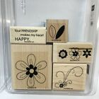 Stampin Up Friendship Blooms Rubber Stamp Set of 5 Makes My Heart Happy Floral