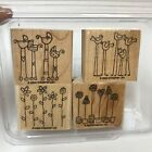 2003 Stampin Up Simple Somethings Rubber Stamp Set of 4 Baby Carriage Bird Plant