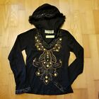Banana Boho Festival Native Asian Fur Lined Beaded Hooded Top L