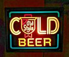 Vintage Old Style Cold Beer Sign Light Heileman Brewery neon looking