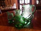 Mixed lot of 4 hand blown emerald green swirl glass creamer vases small pitcher