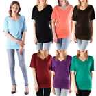 New Women Crew V Neck Basic Top Tee Short Sleeve Solid Color Shirts Sizes S 3XL
