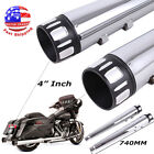 4 Megaphone Exhaust Pipes Mufflers Slip On For Harley Road Street Electra Glide