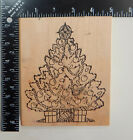 Rubbernecker Stamp Co Decorated Christmas Tree Presents Rubber Stamp
