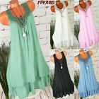 Women Boho Summer Short Sleeve Long T-Shirt Casual Cotton Loose Dress Plus Size