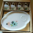 Vintage 1950's Federal Glass Atomic Flower Snack Tray Sets Service For 4