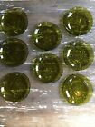 Empoli Textured Olive Green glass plates salad dessert service for 8, Italy