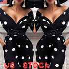 Sexy Womens Polka Dot Plunge V Bodycon Dress Ladies Evening Party Midi Dress US