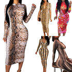 Women Long Sleeve Floral Bodycon Midi Dress Evening Party Slim Fit Sundress