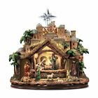 Thomas Kinkade Following the Star Nativity Lights Figures Move Plays Carols