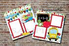 School Days Boy Girl Bus 2 PRINTED Premade Scrapbook Pages BLJgraves 61