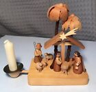Vintage Erzgebirge Carved Wooden Christmas Ornament Nativity Creche Candle