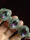 HEAVY 54 GRAMS RAINBOW MYSTIC TOPAZ STERLING SILVER TOGGLE BRACELET