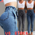 Women Paper Bag Denim Jeans High Waist Lace Up Drawstring Elastic Trousers Pants