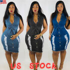 Women Lady Jeans Denim Sleeveless Casual Evening Party Short Mini Bodycon Dress