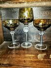 Set of 3 WINE GLASS AMBER GOLD CUT TO CLEAR CRYSTAL BOHEMIAN