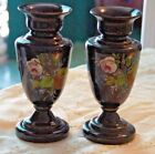 BRISTOL GLASS Pair Purple Hand Painted Vases Vase Floral VINTAGE