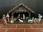 Vintage West German Paper Mache Nativity Set music box Silent Night