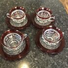 SET OF 4 Vintage Tiffin Kings Crown  Thumbprint  Ruby  Cup and Saucer Set