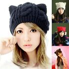 USA Womens Devil Horns Cat Ear Solid Hat Warm Wool Winter Beanie Ski Cap Hats