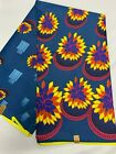 TEAL BLUE YELLOW Floral African Print Fabric Poly Cotton 45 in 6 YARDS
