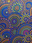 BLUE PINK MULTICOLOR African Wax Print 100 Cotton Fabric 44 in Sold BTY