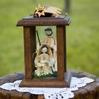 Bethlehem Nativity scene cornhusk Holy Family in wooden lantern w mini LED light