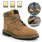 Brown Mens Work Boots Safety Steel Toe Leather Waterproof Cowboy Pull On Shoes