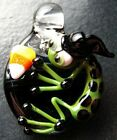Boomwire Glass Halloween Witch Frog Candy pendant Handmade boro lampwork art