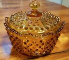 VINTAGE FENTON MARKED AMBER HOBNAIL CANDY DISH WITH LID EXCELLENT CONDITION