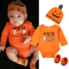 US Newborn Baby Girl Boy Halloween Clothes Pumpkin Costume Romper Pants Outfits