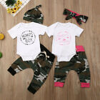 US 3PCS Newborn Infant Baby Girl Boys Clothes Tops Romper Pants Matching Outfits