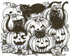 Halloween Cats  Pumpkins Wood Mounted Rubber Stamp Northwoods P9139 New